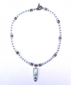 NECKLACE - STERLING SILVER WITH SEA OPAL