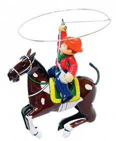 COLLECTIBLE TIN COWBOY WITH ROPE