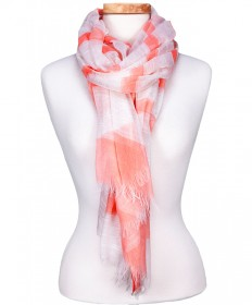 CORAL PASTEL STRIPPED SCARF